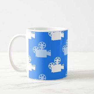 Sky Blue and White Movie Camera Coffee Mugs