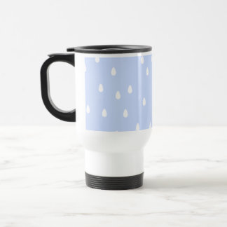 Sky blue and white rain drop pattern. travel mug