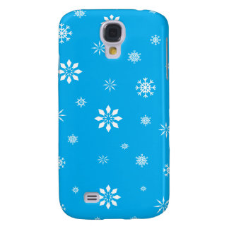Sky blue and white snowflakes galaxy s4 case