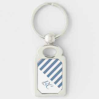 Sky Blue and White Stripe Design Silver-Colored Rectangular Metal Keychain