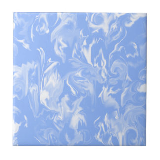 Sky Blue and white -T- Ceramic Tile
