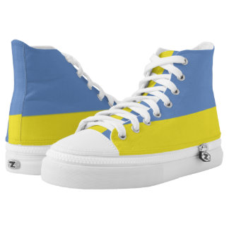Sky Blue and Yellow Two-Tone Hi-Top Sneakers