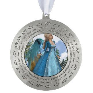 Sky Blue Angel Round Ornament