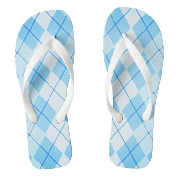 Beach Themed Sky-Blue-Argyle-Unisex(C)Multi-Styles Flip Flops