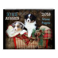 SKy Blue Aussies WINTER Puppy 2018 Calendar