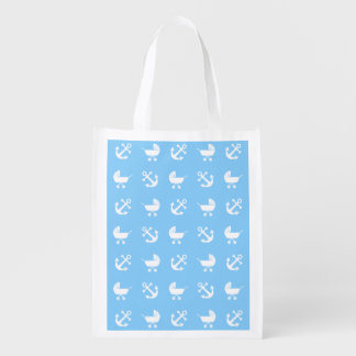 Sky blue baby boy nautical pattern grocery bag