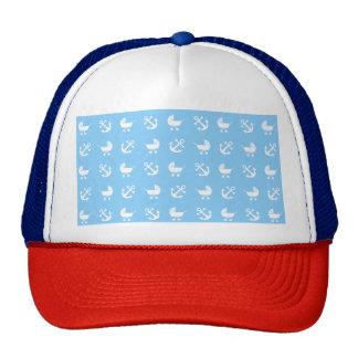 Sky blue baby boy nautical pattern trucker hat