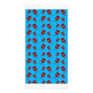 sky blue barbeque pattern picture card