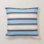 [ Thumbnail: Sky Blue, Beige, Midnight Blue, and Sienna Colored Throw Pillow ]