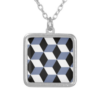Sky Blue Black and White 3D Cubes Pattern Silver Plated Necklace
