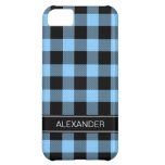 Sky Blue Black Buffalo Check Plaid Name Monogram Case For iPhone 5C