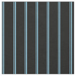 [ Thumbnail: Sky Blue & Black Colored Lines Pattern Fabric ]