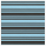 [ Thumbnail: Sky Blue & Black Colored Pattern of Stripes Fabric ]