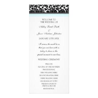 Sky Blue Black Damask Wedding Program