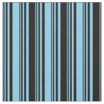 [ Thumbnail: Sky Blue & Black Lined Pattern Fabric ]