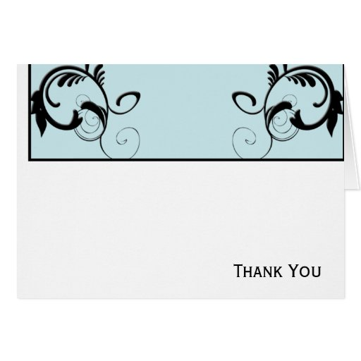 Sky Blue & Black Monogram Filigree Greeting Cards