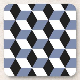 Sky Blue Black & White 3D Cubes Pattern Beverage Coaster
