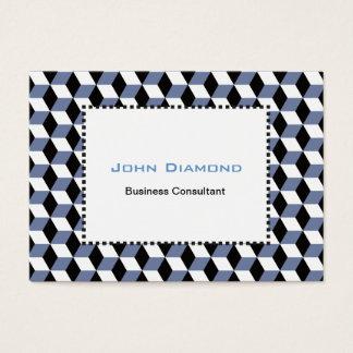 Sky Blue Black & White 3D Cubes Pattern Business Card