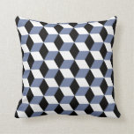 Sky Blue Black & White 3D Cubes Pattern Throw Pillows