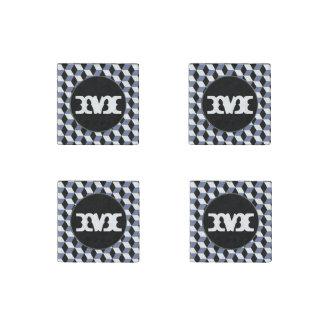 Sky Blue Black & White 3D Cubes Pattern Stone Magnet