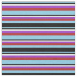 [ Thumbnail: Sky Blue, Black, White, Dark Orchid & Red Lines Fabric ]