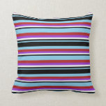 [ Thumbnail: Sky Blue, Black, White, Dark Orchid & Red Lines Throw Pillow ]