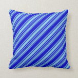 [ Thumbnail: Sky Blue & Blue Colored Lined Pattern Throw Pillow ]