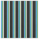 [ Thumbnail: Sky Blue, Blue, Forest Green, White & Black Lines Fabric ]