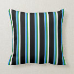 [ Thumbnail: Sky Blue, Blue, Forest Green, White & Black Lines Throw Pillow ]