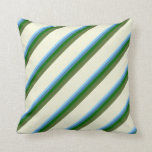 [ Thumbnail: Sky Blue, Blue, Green, Dark Olive Green & Beige Throw Pillow ]