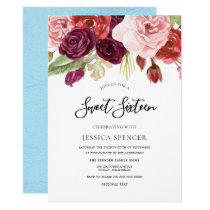 Sky Blue Blush & Burgundy Sweet 16 Invite