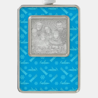 Sky blue bobsled pattern christmas ornament