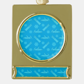 Sky blue bobsled pattern gold plated banner ornament