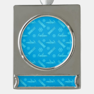 Sky blue bobsled pattern silver plated banner ornament