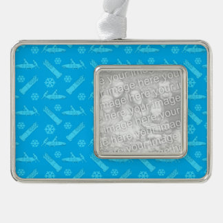 Sky blue bobsled pattern silver plated framed ornament
