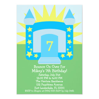 Sky Blue Bounce On Over Moon Bounce Birthday Party Card