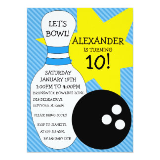 Sky Blue Bowling Bash Bowling Birthday Party 5.5x7.5 Paper Invitation Card
