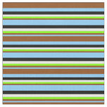 [ Thumbnail: Sky Blue, Brown, Chartreuse, Mint Cream & Black Fabric ]