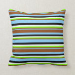 [ Thumbnail: Sky Blue, Brown, Chartreuse, Mint Cream & Black Throw Pillow ]