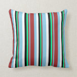 [ Thumbnail: Sky Blue, Brown, Green, Black & White Pattern Throw Pillow ]