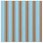 [ Thumbnail: Sky Blue & Brown Lines Fabric ]