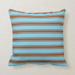 [ Thumbnail: Sky Blue & Brown Lines Throw Pillow ]