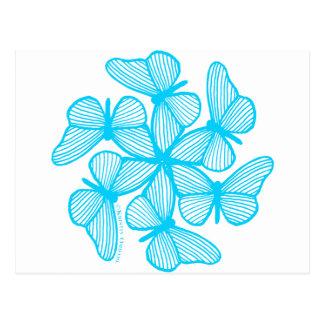 Sky Blue Butterfly Burst Postcard