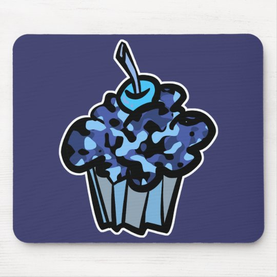 sky blue camouflage cupcake mouse pad