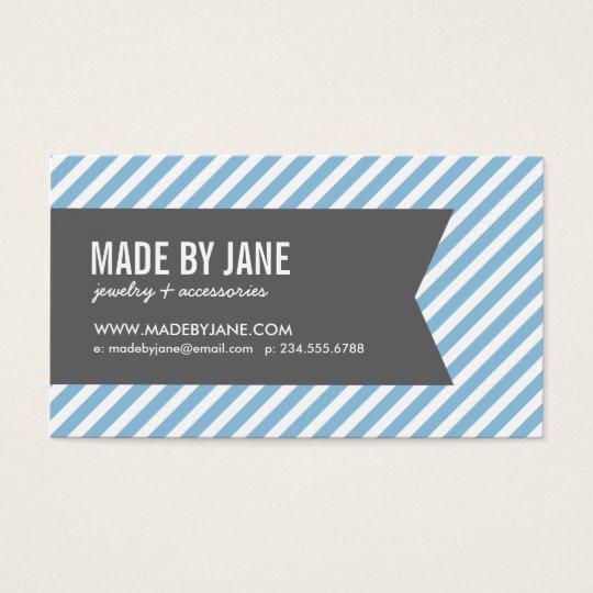 Sky Blue & Charcoal Modern Stripes & Ribbon Business Card