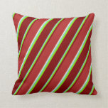[ Thumbnail: Sky Blue, Chartreuse, Maroon, Red & Light Yellow Throw Pillow ]