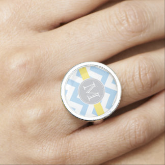 Sky Blue Chevron with Lemon Stripe and Monogram Rings