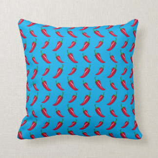 sky blue chili peppers pattern throw pillow