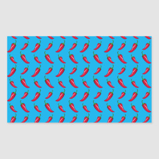 sky blue chili peppers pattern rectangle sticker