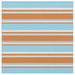 [ Thumbnail: Sky Blue, Chocolate, and Beige Stripes Fabric ]